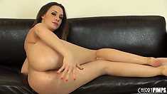 Chanel rubs her clit and caresses her ass which makes her excitement grow stronger