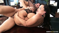 Cougar with stunning boobs gets her butt pounded on her desk