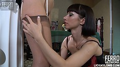 Mabel and Mireille undress and kiss before they use the strapon to fuck