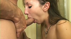 Sexy amateur blonde works her hot lips and gifted hands on a big dick