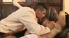 Huge tit Milf titty fucks, gets toyed and then stuffed with his rod